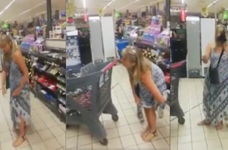 Maskless Woman Takes Thong Off, Puts It Over Her Face in Grocery Store