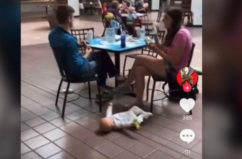 Video Surfaces Of Baby Flailing On Mall Food Court Floor As Alleged Guardians Ignore